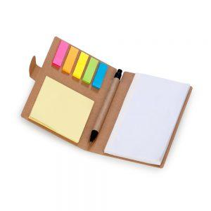 Bloco anotações auto colantes 06 cores com caneta blo2040 capa em papel reciclado