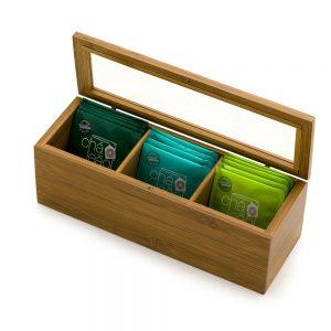 Caixa para chás em bambu 3 divisórias cha1064