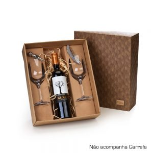 Kit com 2 taças de vinho e acessórios cop6124