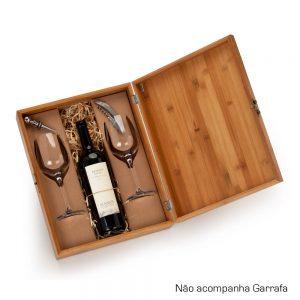 Caixa em bambu com 2 taças para vinho e acessório cop6127