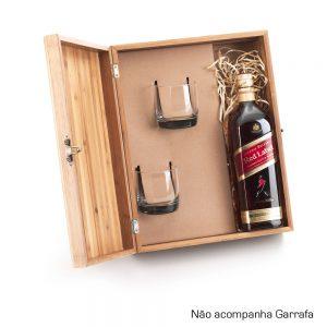 Caixa em bambu com 02 copos para whisky cop6181