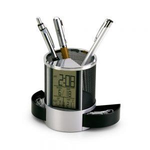 Porta canetas em alumínio/plástico com relógio digital pla2039