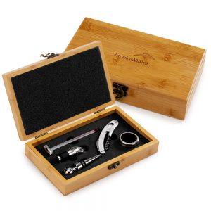 Caixa de bambu com kit vinho vin6091