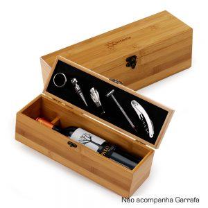 Caixa de bambu com kit vinho vin6093