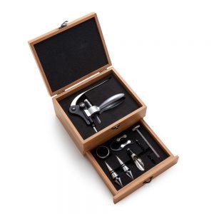 Kit para vinho em bambu 9 peças vin6103