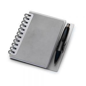 Caderneta capa plástica fume c/ caneta (100 folhas) blo2047