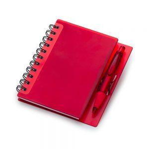 Caderno capa plástica vermelha c/ caneta (100 folhas) blo2048