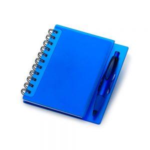 Caderno capa plástica azul c/ caneta (100 folhas) blo2049