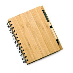 Caderno com capa em bambu e caneta (96 folhas) blo2057