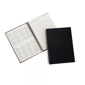Caderno Agenda permanente com capa dura na cor preta blo2077