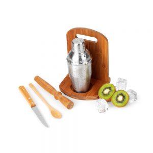 cai5061 Kit caipirinha em bambu 6 peças com coqueteleira inox