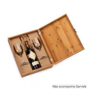 Caixa em bambu com 2 taças para vinho cop6126