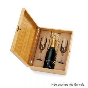 Caixa em bambu com 2 taças para champanhe cop6177