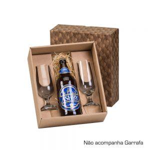 Caixa para presente com 02 copos de vidro para cerveja 300ml cop6183