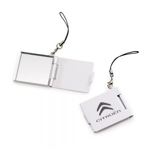 Mini espelho em alumínio com pingente fem1058