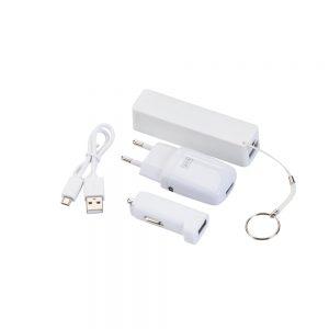 Conjunto de carregadores com 3 peças Power bank veicular e bivolt inf3062