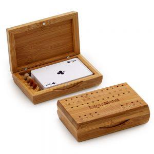 Jogo de truco com caixa em bambu jba3008