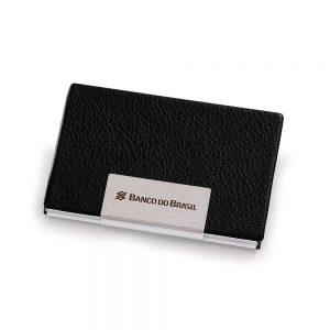 Porta-cartões em alumínio/couro sintético pct2026