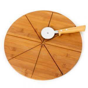 piz5047 Tabua para pizza em bambu com cortador