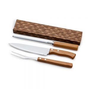xcx4231 Kit churrasco 3 peças bambu / inox