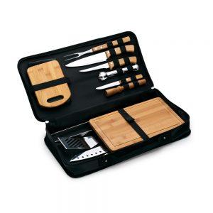 Estojo maleta 14 peças bambu / inox xem4227