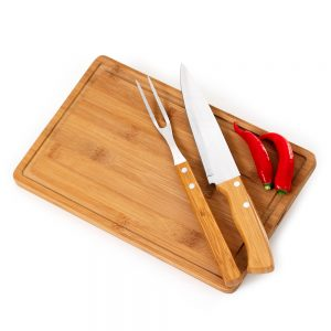 xtb4156 Kit churrasco 3 peças bambu / inox