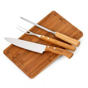 xtb4161 Kit churrasco 4 peças bambu / inox
