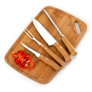 xtb4215   Kit churrasco 5 peças bambu / inox