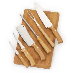 xtb4219 Kit churrasco 7 peças bambu / inox