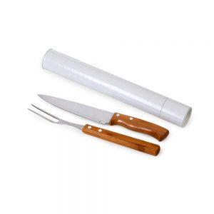 xtu4119 Tubo para churrasco 2 peças bambu / inox