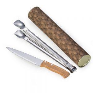 xtu4127 Tubo para churrasco 2 peças bambu / inox
